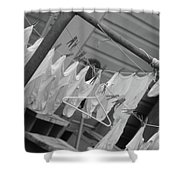 White  Cotton Laundry Blowing In The Wind Shower Curtain
