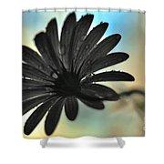 White Daisy Silhouette Shower Curtain