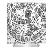 White Doodle Circles Shower Curtain