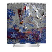 White Elephant Ride Abstract Shower Curtain