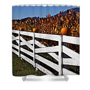 White Fence With Pumpkins Shower Curtain