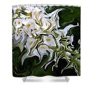 White Flowers 2 Shower Curtain