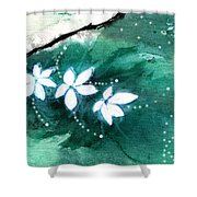 White Flowers Shower Curtain by Anil Nene