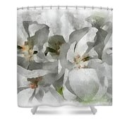 White Geraniums - Watercolor Shower Curtain