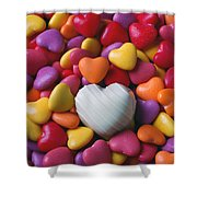 White Heart Candy Shower Curtain