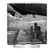 White House Ruin Canyon De Chelly Monochrome Shower Curtain