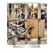 White Iron Gate Details Shower Curtain