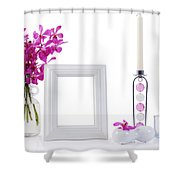 White Picture Frame In Decoration Shower Curtain by Atiketta Sangasaeng