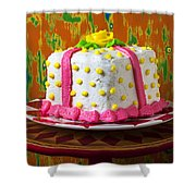 White Present Cake Shower Curtain