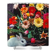 White Rabbit By Basket Of Flowers Shower Curtain
