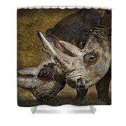White Rhinos Shower Curtain