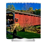 White Rock Forge Covered Bridge Shower Curtain