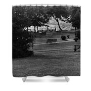 White Roe Lake Hotel - Livingston Manor Ny - Lawn To Lake Shower Curtain