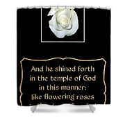 White Rose With Bible Verse From Sirach Shower Curtain