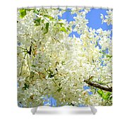 White Shower Tree Shower Curtain
