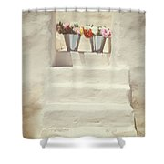 White Steps Shower Curtain