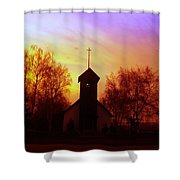 White Swan Church In The Sunset Shower Curtain