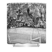 White Swing Black And White Shower Curtain