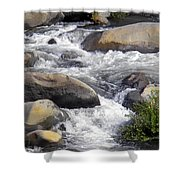 White Water Composition Shower Curtain