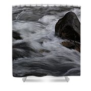 White Water Rushes Over Rocks Shower Curtain