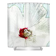White Wildflower V Shower Curtain