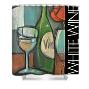 White Wine Poster Shower Curtain