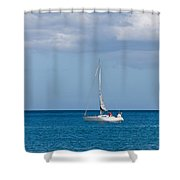 White Yacht Sails In The Sea Along The Coast Line Shower Curtain