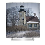Whitehall Lighthouse In Winter Shower Curtain