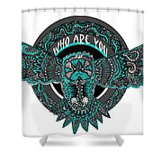Who Are You Blue Shower Curtain