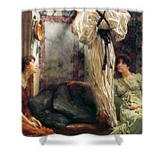 Who Is It Shower Curtain by Sir Lawrence Alma-Tadema