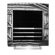 Who Opened The Barn Door Shower Curtain by Teresa Mucha