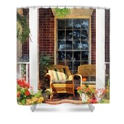 Wicker Chair With Striped Pillow Shower Curtain