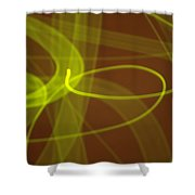 Wide Bands Of Soft Green Light Curve Around Each Other Shower Curtain