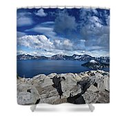Wide View Of Crater Lake Shower Curtain