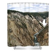 Wide View Of The Lower Falls In Yellowstone Shower Curtain