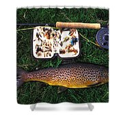 Wild Brown Trout And Fishing Rod Shower Curtain