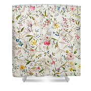 Wild Flowers Design For Silk Material Shower Curtain