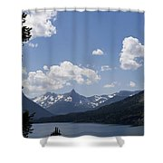 Wild Goose Island Floats In St Mary Lake Shower Curtain