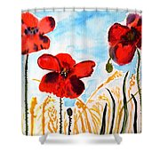 Wild Poppies Shower Curtain