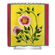 Wild Roses On Yellow With Borders Shower Curtain
