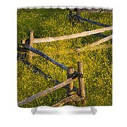 Wildflowers And A Wooden Fence At Shower Curtain