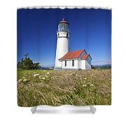 Wildflowers And Cape Blanco Lighthouse Shower Curtain