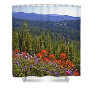 Wildflowers And Mountaintop View Shower Curtain by Ellen Thane and Photo Researchers