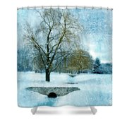 Willow Trees By Stream In Winter Shower Curtain