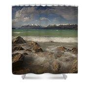 Wind Storm On Lake Pukaki Shower Curtain