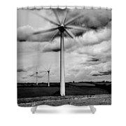 Wind Turbines Mono Shower Curtain