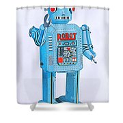 Wind-up Robot Shower Curtain