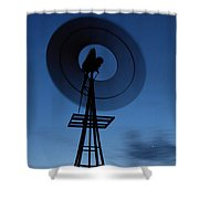 Windlill At Night Shower Curtain