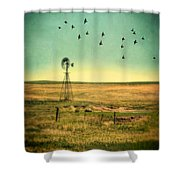 Windmill And Birds Shower Curtain