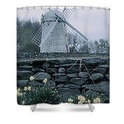 Windmill And Daffodils  Shower Curtain